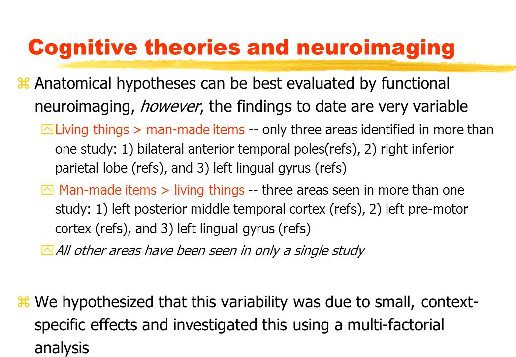 Cognitive theories and neuroimaging zAnatomical hypotheses can be best evaluated by functional neuroimaging, however, the findings to date are very variable yLiving things > man-made items -- only three areas identified in more than one study: 1) bilateral anterior temporal poles(refs), 2) right inferior parietal lobe (refs), and 3) left lingual gyrus (refs) y Man-made items > living things -- three areas seen in more than one study: 1) left posterior middle temporal cortex (refs), 2) left pre-motor cortex (refs), and 3) left lingual gyrus (refs) yAll other areas have been seen in only a single study zWe hypothesized that this variability was due to small, context- specific effects and investigated this using a multi-factorial analysis