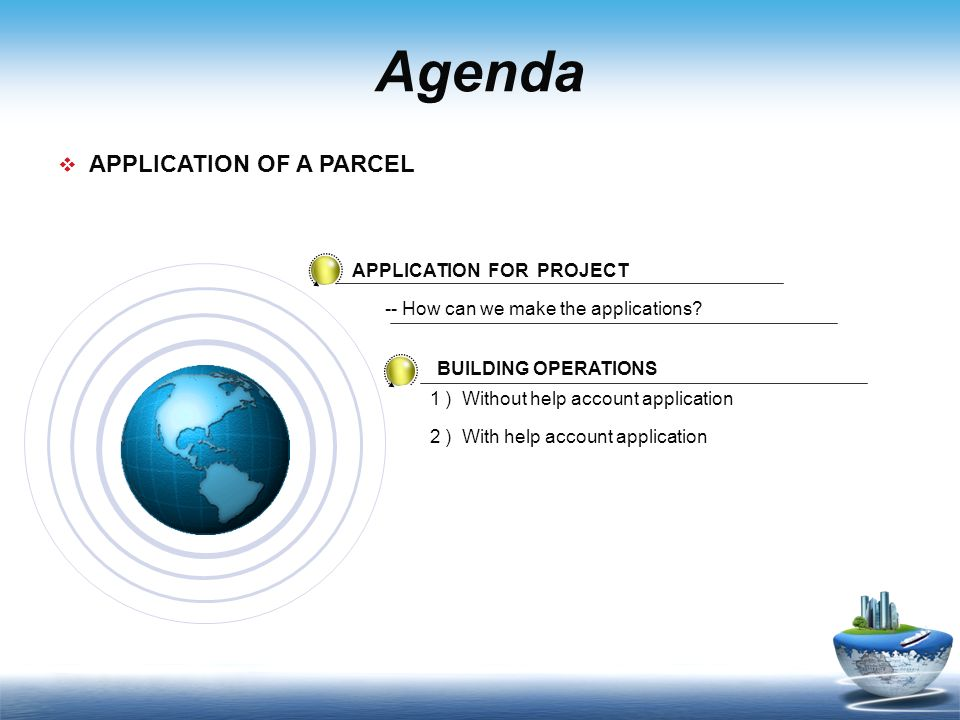 Agenda APPLICATION FOR PROJECT BUILDING OPERATIONS 1 ) Without help account application APPLICATION OF A PARCEL -- How can we make the applications.