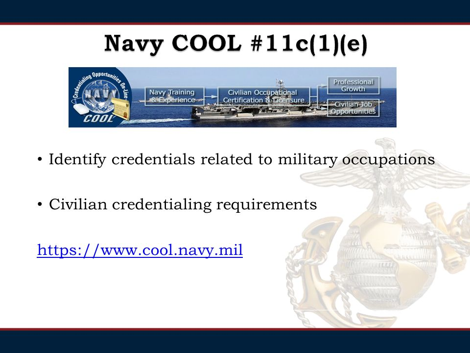 Identify credentials related to military occupations Civilian credentialing requirements