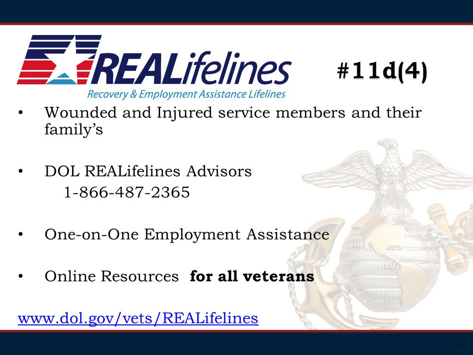 14 Wounded and Injured service members and their familys DOL REALifelines Advisors One-on-One Employment Assistance Online Resources for all veterans
