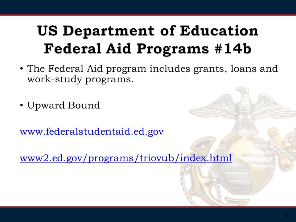 28 The Federal Aid program includes grants, loans and work-study programs.