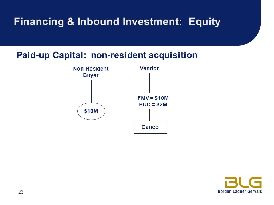 23 Financing & Inbound Investment: Equity Paid-up Capital: non-resident acquisition $10M FMV = $10M PUC = $2M Canco Non-Resident Buyer Vendor