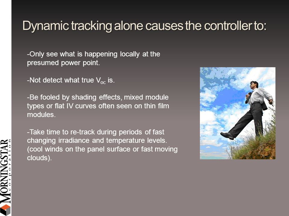 Dynamic tracking alone causes the controller to: -Only see what is happening locally at the presumed power point. -Not detect what true V oc is. -Be f