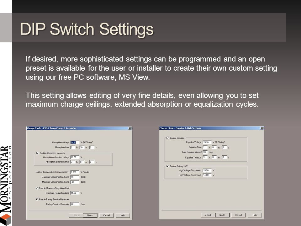 DIP Switch Settings If desired, more sophisticated settings can be programmed and an open preset is available for the user or installer to create thei