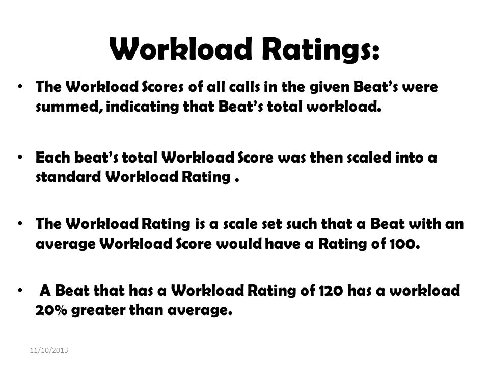 Workload Ratings: The Workload Scores of all calls in the given Beats were summed, indicating that Beats total workload. Each beats total Workload Sco