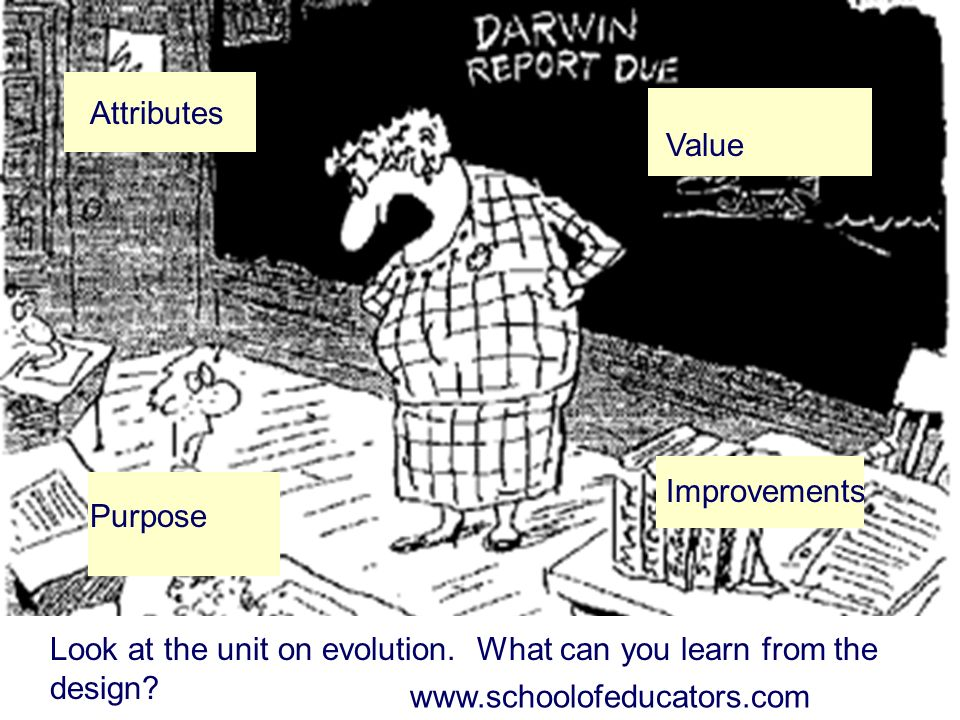 Look at the unit on evolution. What can you learn from the design? Attributes Purpose Value Improvements www.schoolofeducators.com