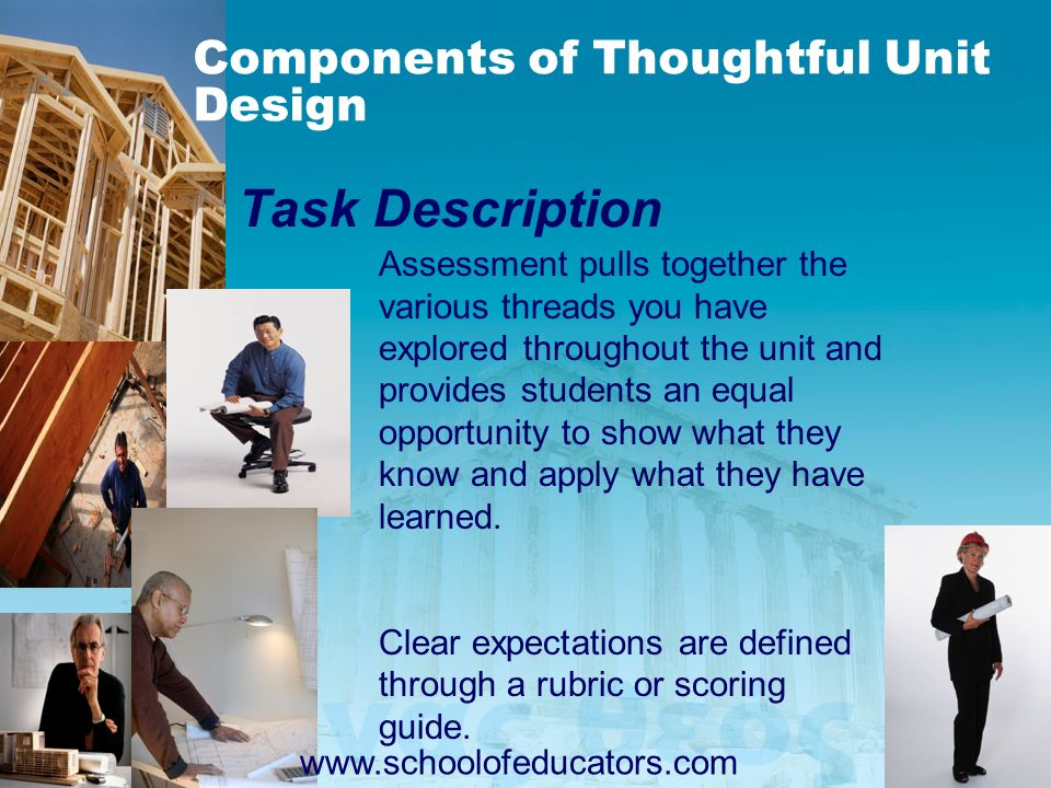 Task Description Assessment pulls together the various threads you have explored throughout the unit and provides students an equal opportunity to sho
