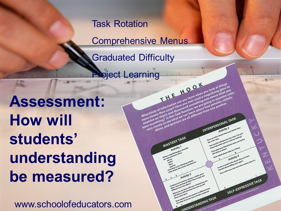 Assessment: How will students understanding be measured? Task Rotation Comprehensive Menus Graduated Difficulty Project Learning www.schoolofeducators
