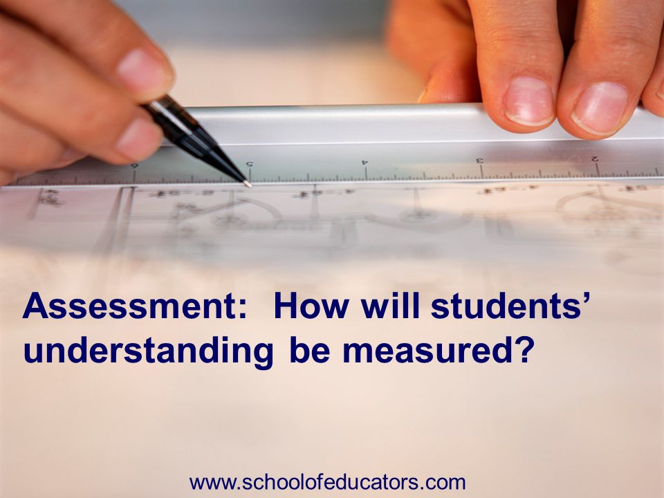 Assessment: How will students understanding be measured? www.schoolofeducators.com