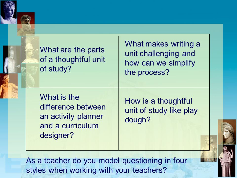 What are the parts of a thoughtful unit of study? What is the difference between an activity planner and a curriculum designer? What makes writing a u