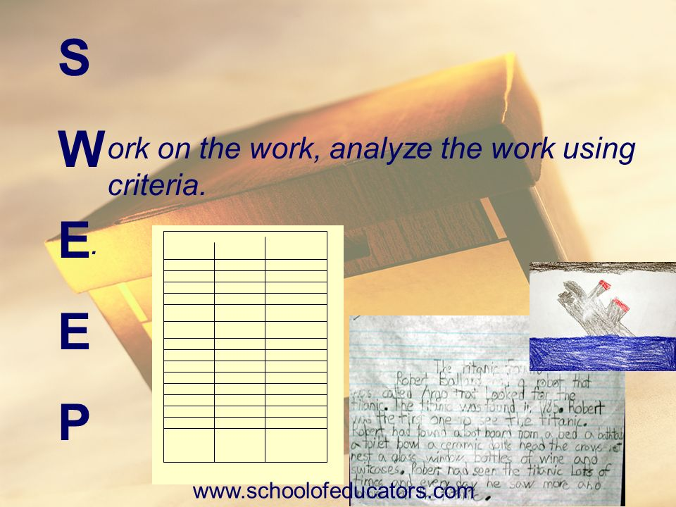 SWEEPSWEEP ork on the work, analyze the work using criteria.. Reading Class www.schoolofeducators.com