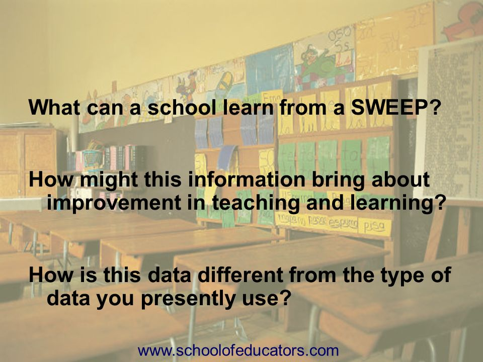 What can a school learn from a SWEEP? How might this information bring about improvement in teaching and learning? How is this data different from the
