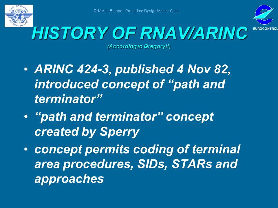 RNAV in Europe - Procedure Design Master Class EUROCONTROL HISTORY OF RNAV/ARINC (According to Gregory!!) ARINC 424-3, published 4 Nov 82, introduced