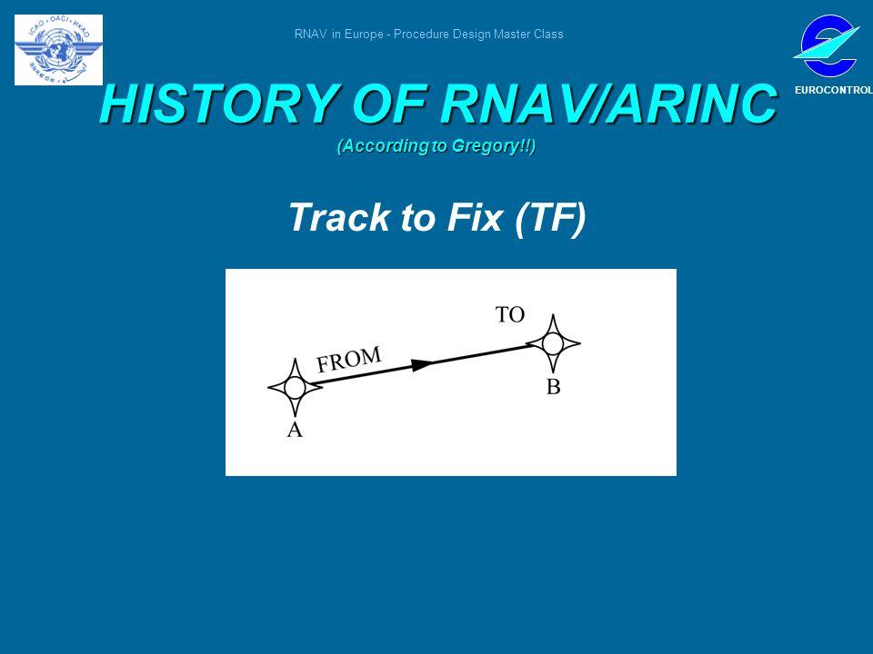 RNAV in Europe - Procedure Design Master Class EUROCONTROL HISTORY OF RNAV/ARINC (According to Gregory!!) Track to Fix (TF)