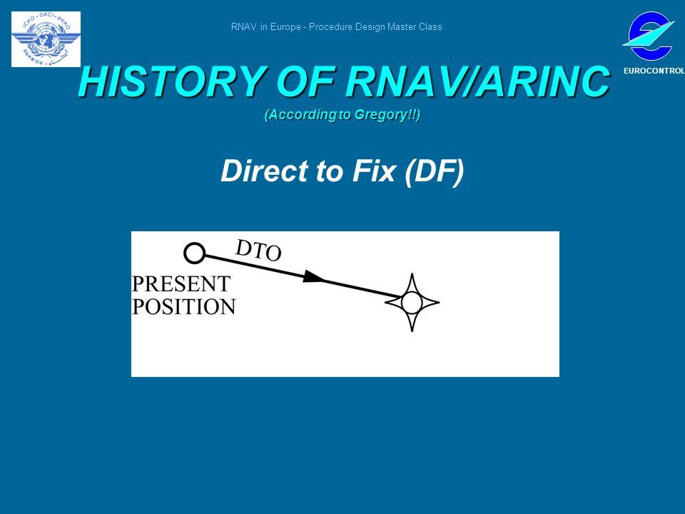 RNAV in Europe - Procedure Design Master Class EUROCONTROL HISTORY OF RNAV/ARINC (According to Gregory!!) Direct to Fix (DF)