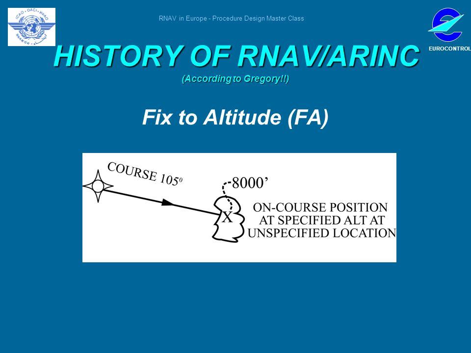 RNAV in Europe - Procedure Design Master Class EUROCONTROL HISTORY OF RNAV/ARINC (According to Gregory!!) Fix to Altitude (FA)