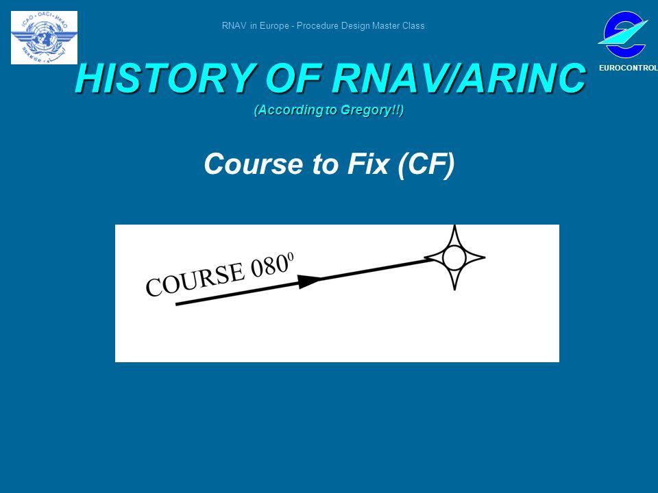 RNAV in Europe - Procedure Design Master Class EUROCONTROL HISTORY OF RNAV/ARINC (According to Gregory!!) Course to Fix (CF)