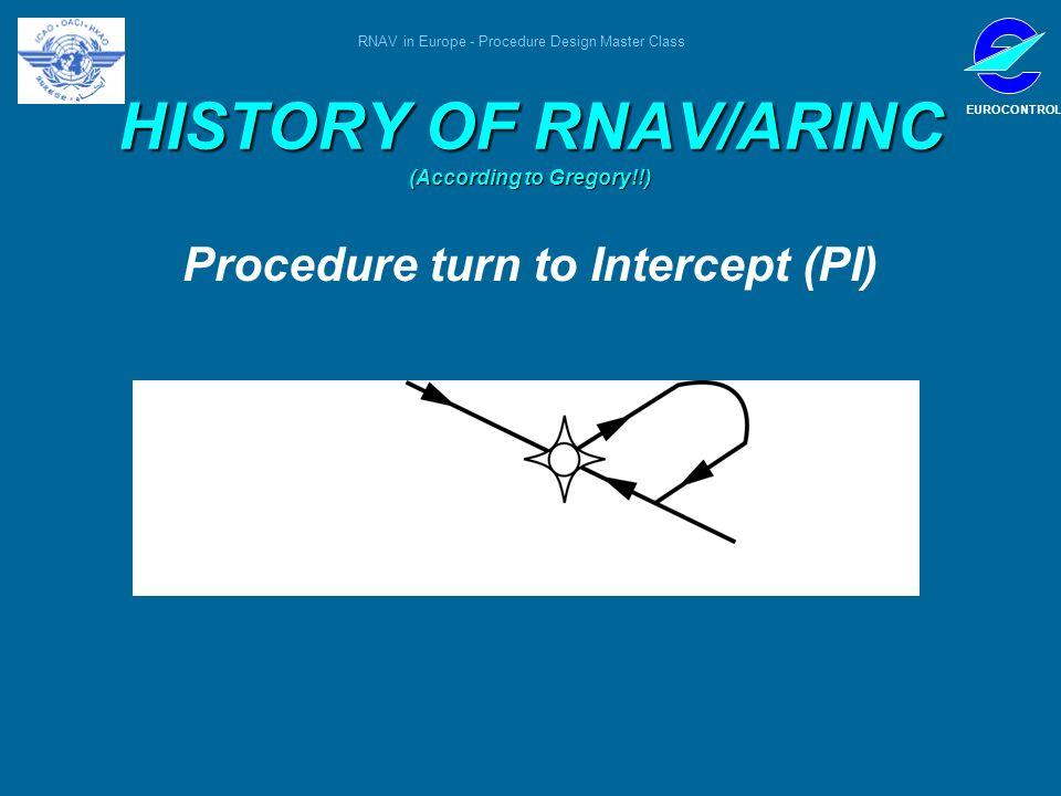 RNAV in Europe - Procedure Design Master Class EUROCONTROL HISTORY OF RNAV/ARINC (According to Gregory!!) Procedure turn to Intercept (PI)