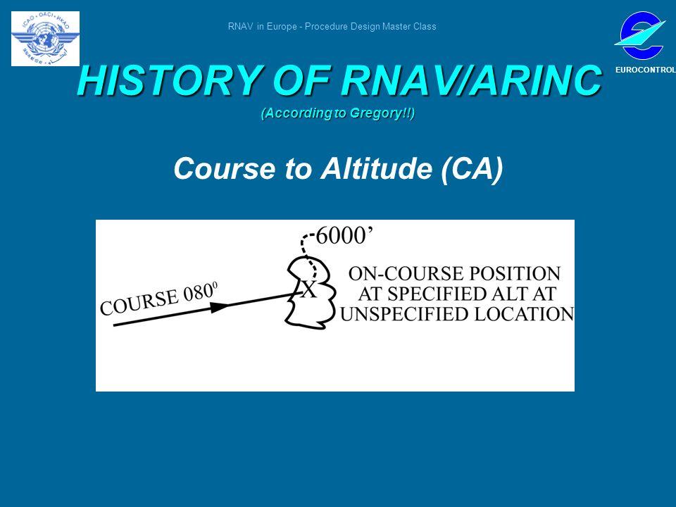 RNAV in Europe - Procedure Design Master Class EUROCONTROL HISTORY OF RNAV/ARINC (According to Gregory!!) Course to Altitude (CA)