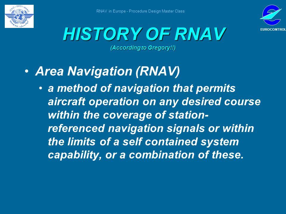 RNAV in Europe - Procedure Design Master Class EUROCONTROL HISTORY OF RNAV (According to Gregory!!) Area Navigation (RNAV) a method of navigation that