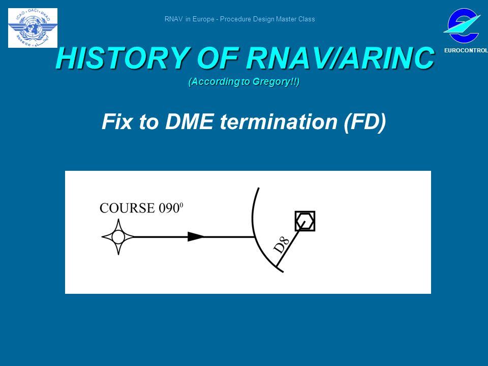 RNAV in Europe - Procedure Design Master Class EUROCONTROL HISTORY OF RNAV/ARINC (According to Gregory!!) Fix to DME termination (FD)
