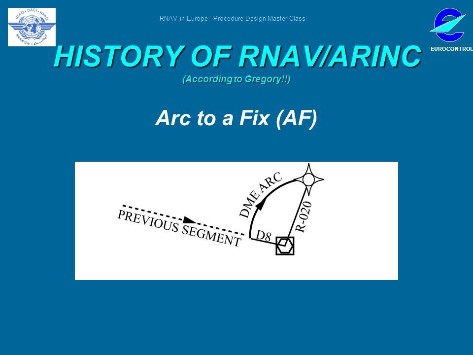 RNAV in Europe - Procedure Design Master Class EUROCONTROL HISTORY OF RNAV/ARINC (According to Gregory!!) Arc to a Fix (AF)
