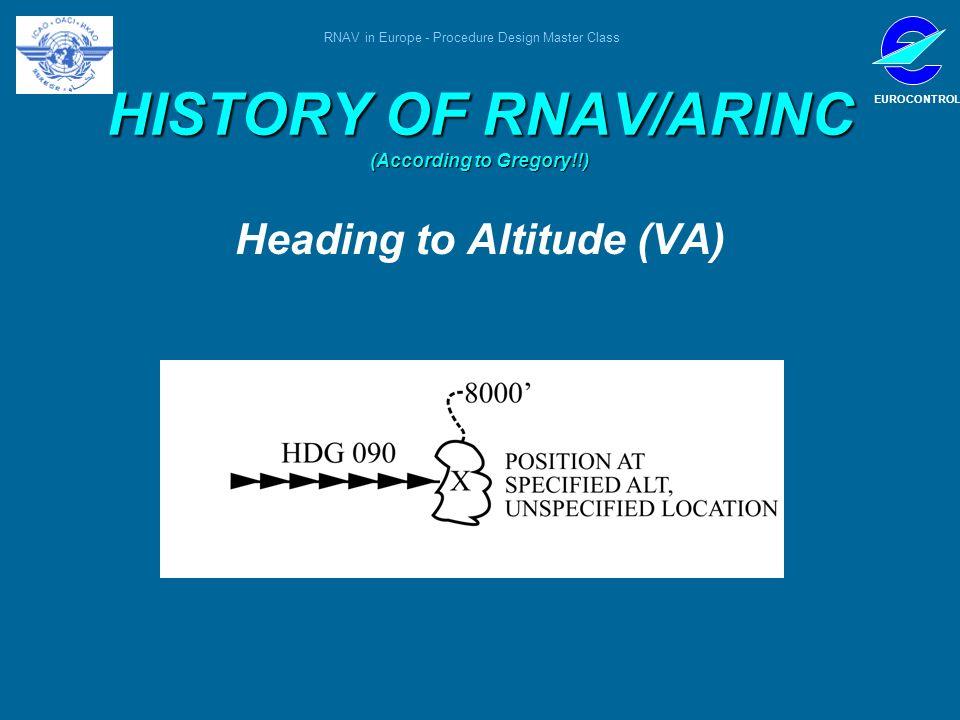 RNAV in Europe - Procedure Design Master Class EUROCONTROL HISTORY OF RNAV/ARINC (According to Gregory!!) Heading to Altitude (VA)