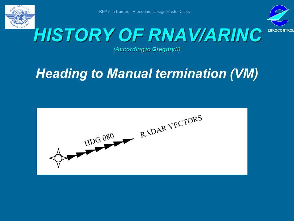 RNAV in Europe - Procedure Design Master Class EUROCONTROL HISTORY OF RNAV/ARINC (According to Gregory!!) Heading to Manual termination (VM)