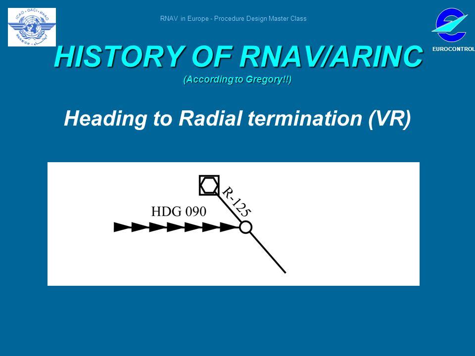 RNAV in Europe - Procedure Design Master Class EUROCONTROL HISTORY OF RNAV/ARINC (According to Gregory!!) Heading to Radial termination (VR)