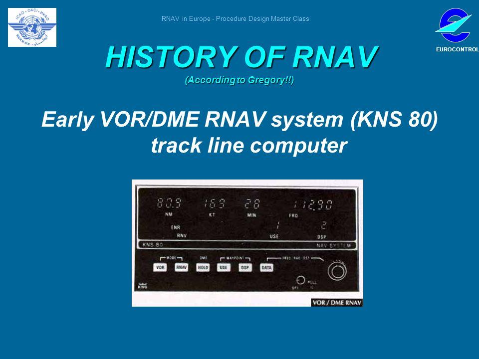 RNAV in Europe - Procedure Design Master Class EUROCONTROL HISTORY OF RNAV (According to Gregory!!) Early VOR/DME RNAV system (KNS 80) track line comp
