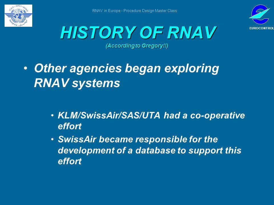 RNAV in Europe - Procedure Design Master Class EUROCONTROL HISTORY OF RNAV (According to Gregory!!) Other agencies began exploring RNAV systems KLM/Sw