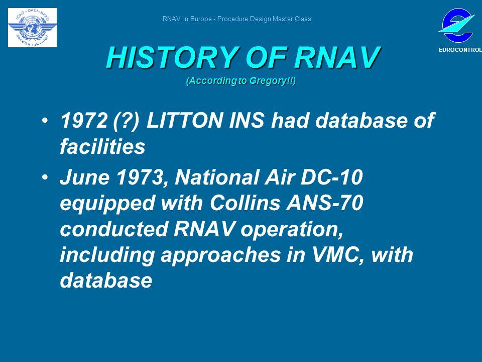 RNAV in Europe - Procedure Design Master Class EUROCONTROL HISTORY OF RNAV (According to Gregory!!) 1972 (?) LITTON INS had database of facilities Jun