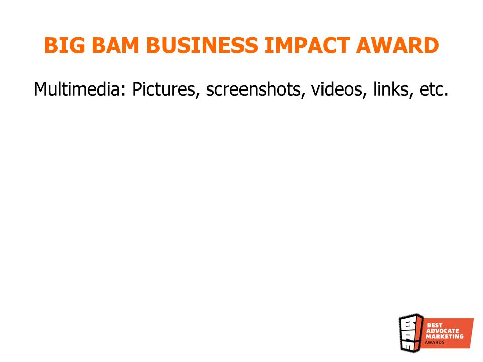 Multimedia: Pictures, screenshots, videos, links, etc. BIG BAM BUSINESS IMPACT AWARD