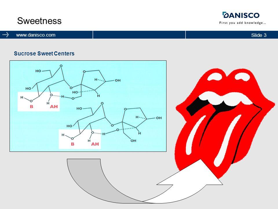 Slide 3 www.danisco.com Sweetness Sucrose Sweet Centers