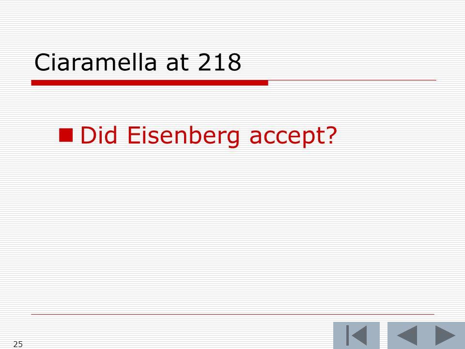 Ciaramella at 218 Did Eisenberg accept 25