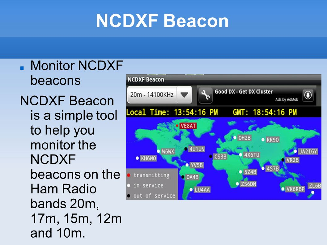 NCDXF Beacon Monitor NCDXF beacons NCDXF Beacon is a simple tool to help you monitor the NCDXF beacons on the Ham Radio bands 20m, 17m, 15m, 12m and 1