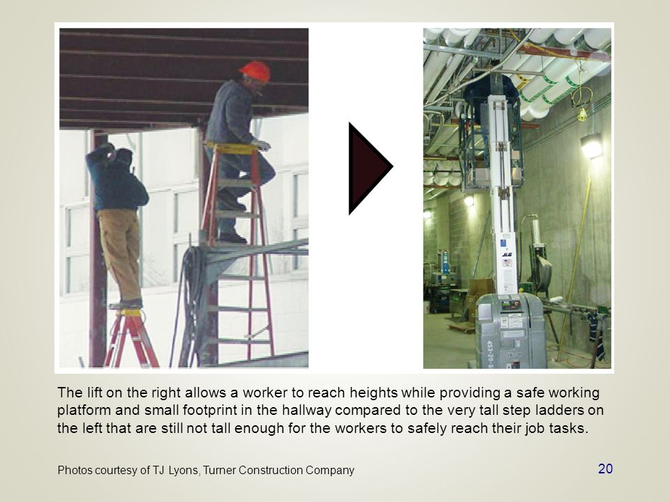 20 The lift on the right allows a worker to reach heights while providing a safe working platform and small footprint in the hallway compared to the v