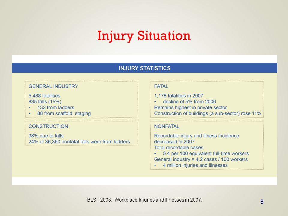 8 Injury Situation BLS. 2008. Workplace Injuries and Illnesses in 2007.