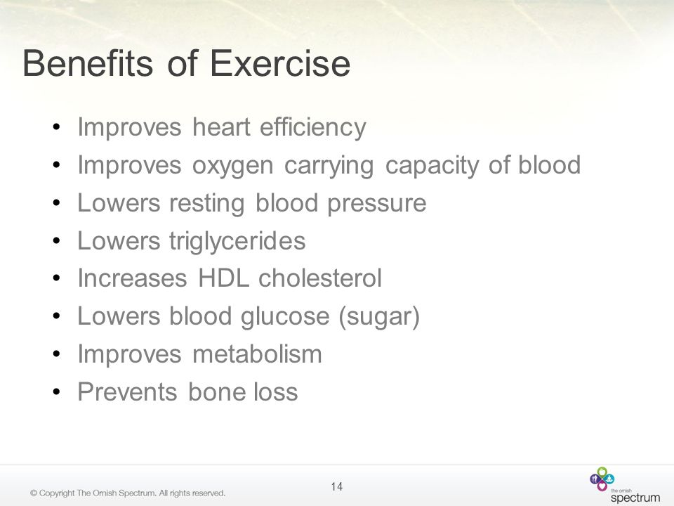 Benefits of Exercise Improves heart efficiency Improves oxygen carrying capacity of blood Lowers resting blood pressure Lowers triglycerides Increases
