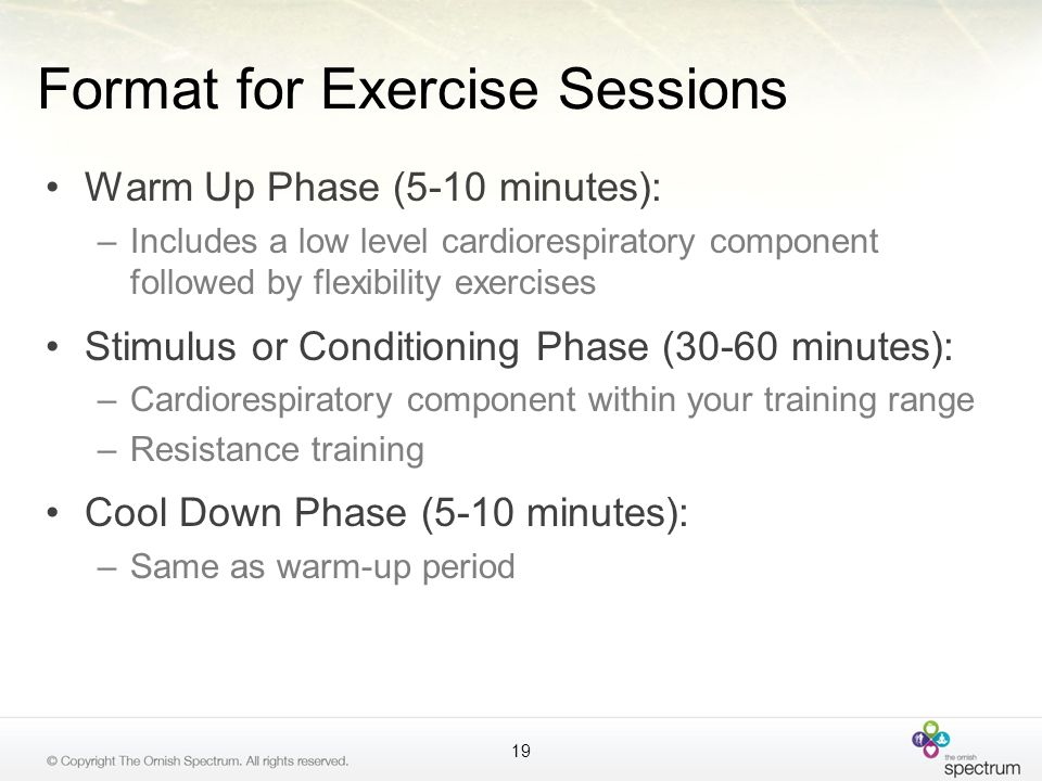 Format for Exercise Sessions Warm Up Phase (5-10 minutes): –Includes a low level cardiorespiratory component followed by flexibility exercises Stimulu