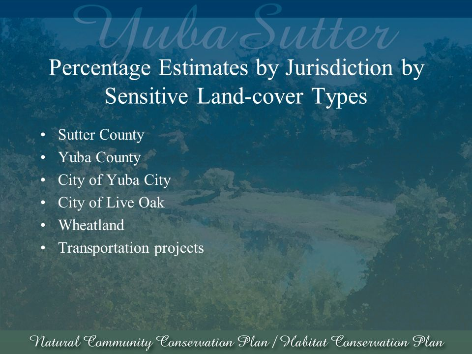 Percentage Estimates by Jurisdiction by Sensitive Land-cover Types Sutter County Yuba County City of Yuba City City of Live Oak Wheatland Transportation projects