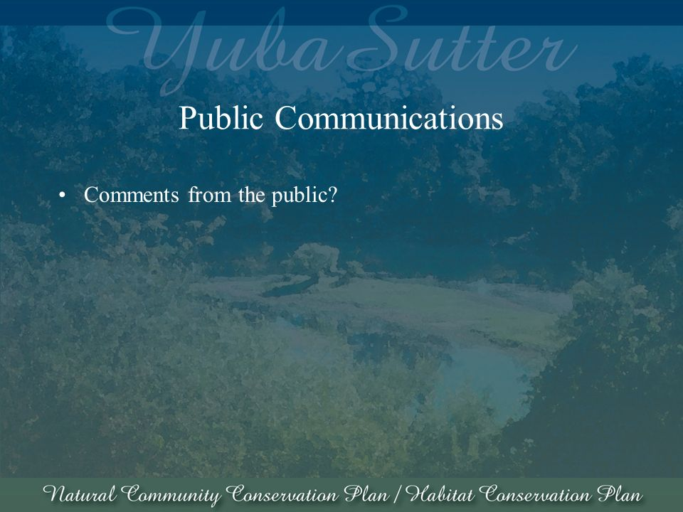 Public Communications Comments from the public