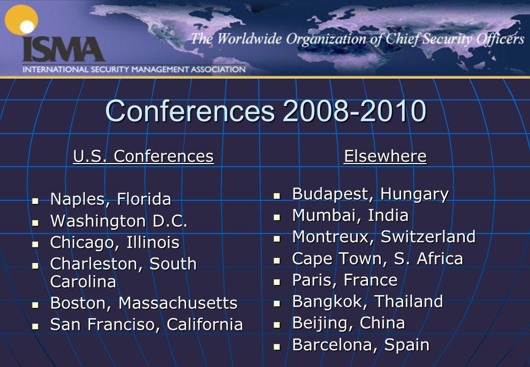 Conferences 2008-2010 U.S. Conferences Naples, Florida Naples, Florida Washington D.C. Washington D.C. Chicago, Illinois Chicago, Illinois Charleston,