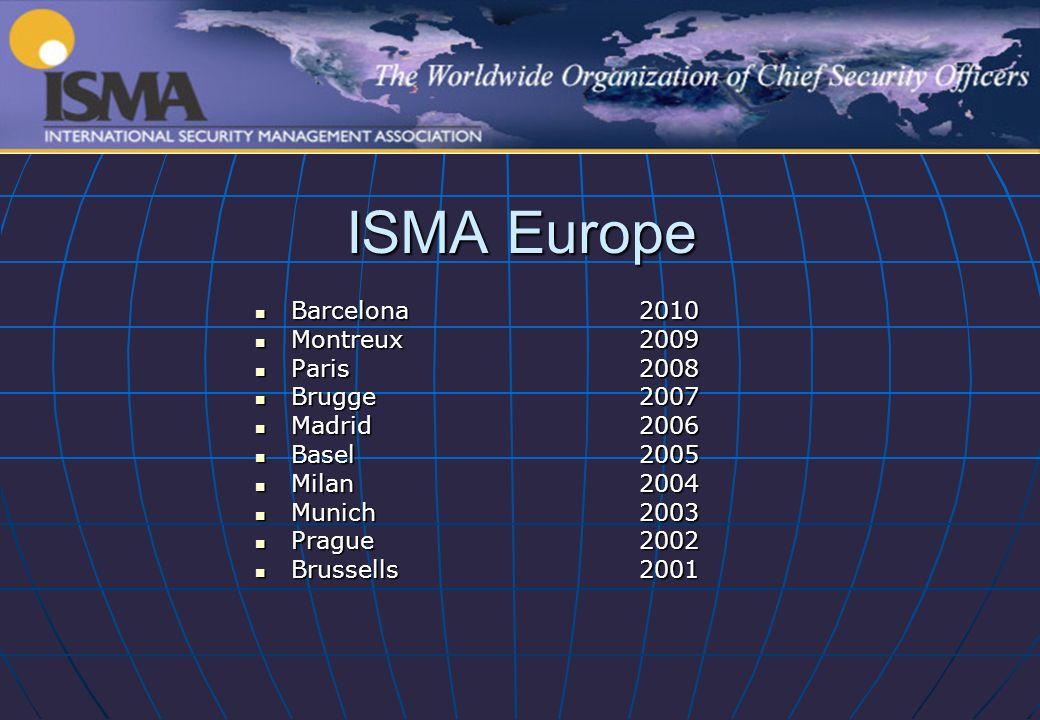 ISMA Europe Barcelona2010 Barcelona2010 Montreux2009 Montreux2009 Paris2008 Paris2008 Brugge2007 Brugge2007 Madrid2006 Madrid2006 Basel2005 Basel2005