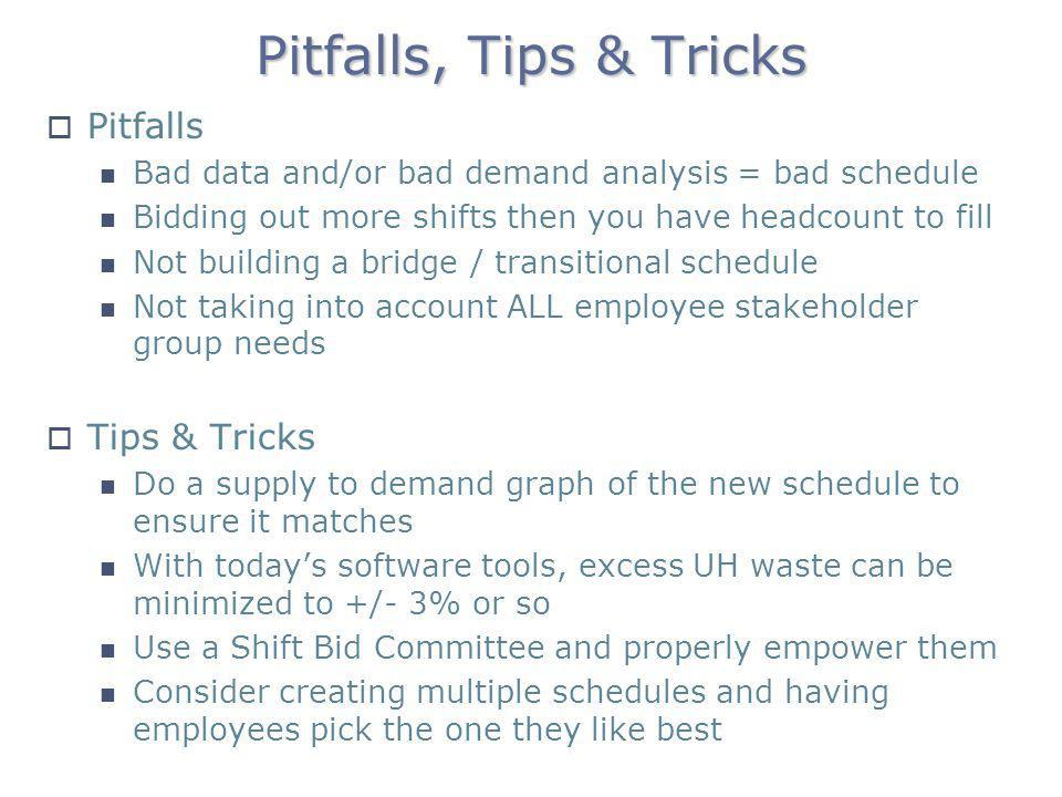 Pitfalls, Tips & Tricks Pitfalls Bad data and/or bad demand analysis = bad schedule Bidding out more shifts then you have headcount to fill Not buildi