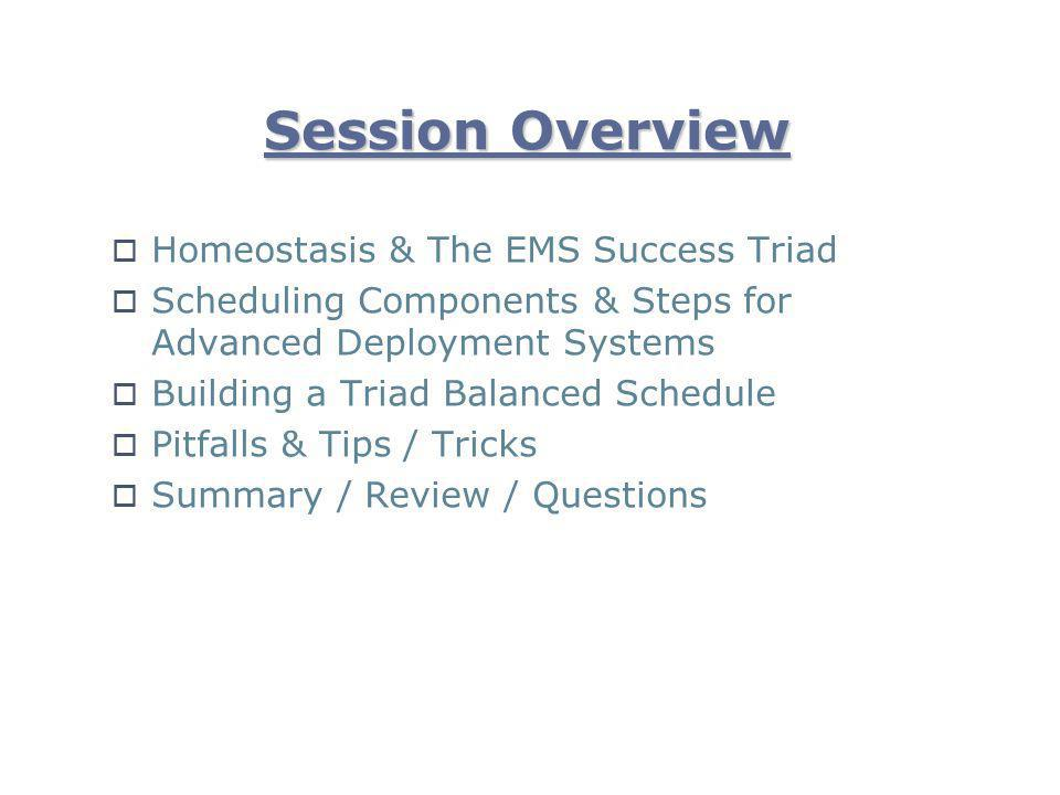 Session Overview Homeostasis & The EMS Success Triad Scheduling Components & Steps for Advanced Deployment Systems Building a Triad Balanced Schedule