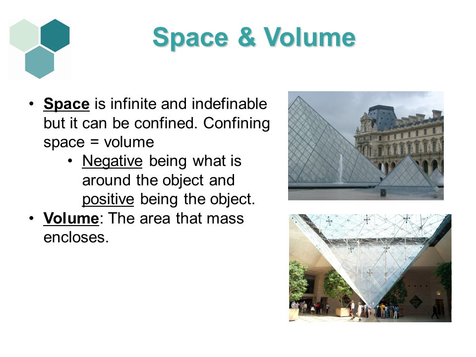 Space is infinite and indefinable but it can be confined. Confining space = volume Negative being what is around the object and positive being the obj