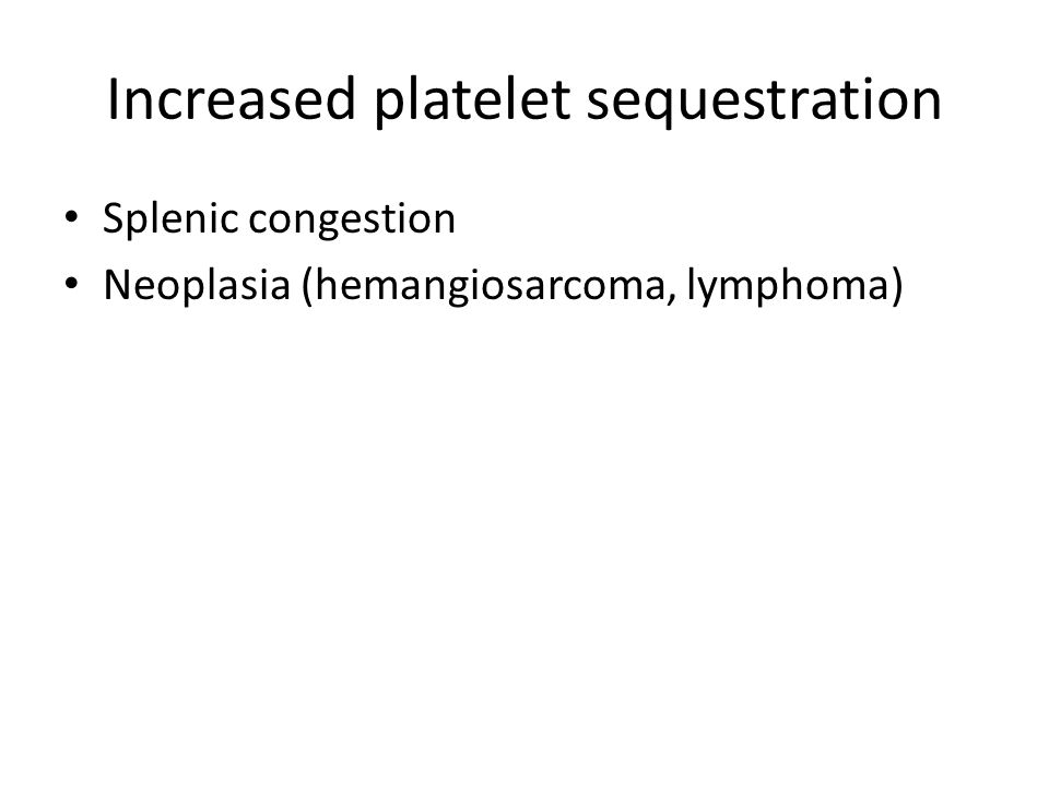 Increased platelet sequestration Splenic congestion Neoplasia (hemangiosarcoma, lymphoma)
