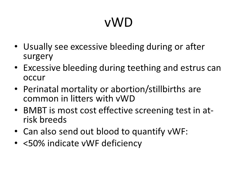 vWD Usually see excessive bleeding during or after surgery Excessive bleeding during teething and estrus can occur Perinatal mortality or abortion/sti