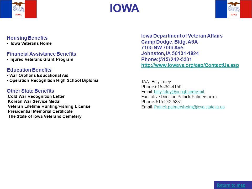 IOWA Housing Benefits Iowa Veterans Home Financial Assistance Benefits Injured Veterans Grant Program Education Benefits War Orphans Educational Aid O